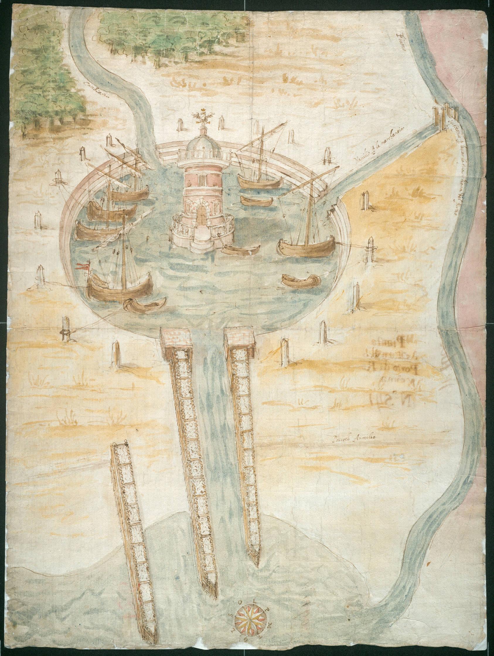 Ricostruzione congetturale dell'antico porto di Augusto autore: ignoto data: 1500ca