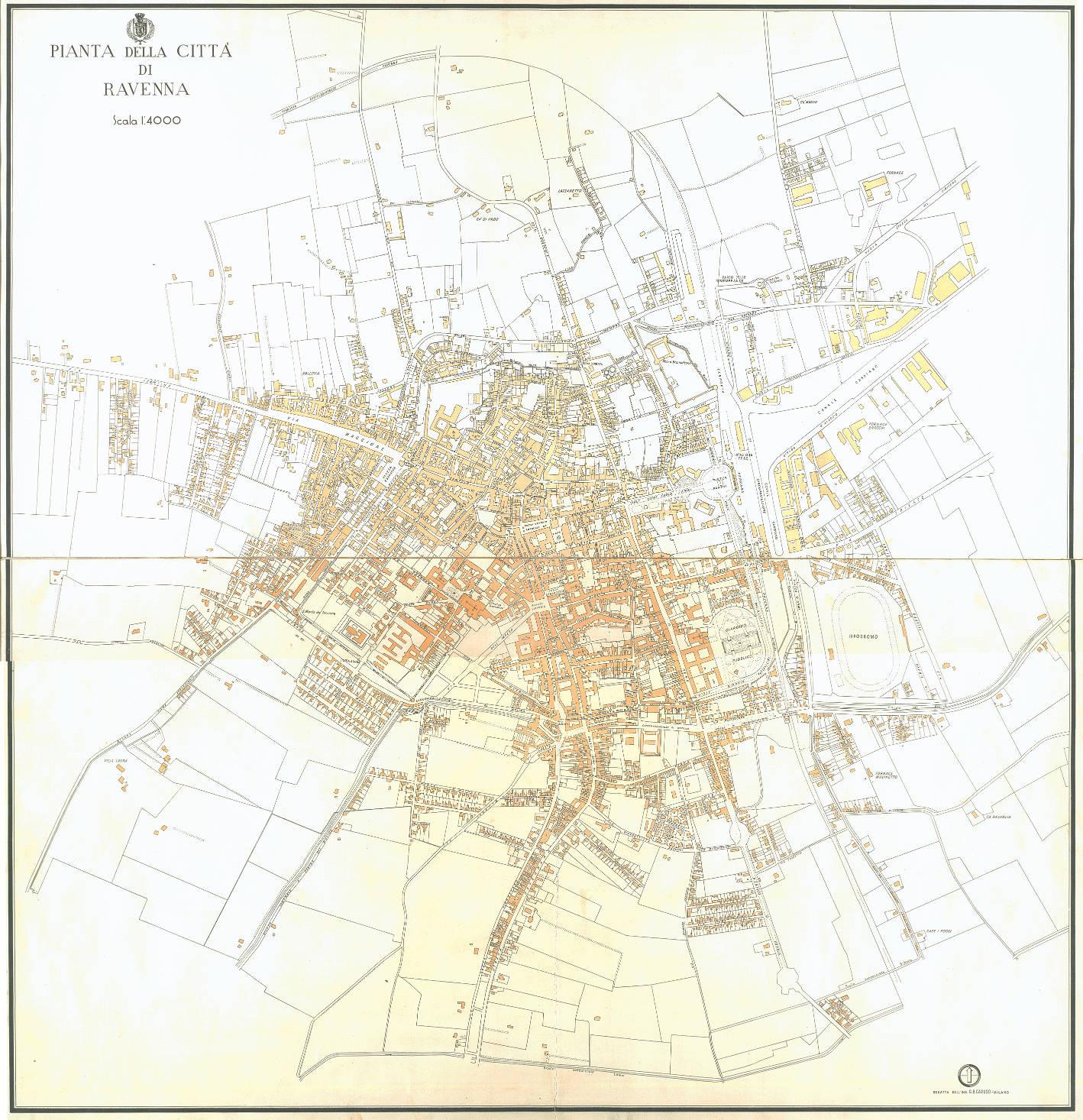 Pianta della città di Ravenna autore: G.B. Caruso Scala 1:4000 data: ante 1945