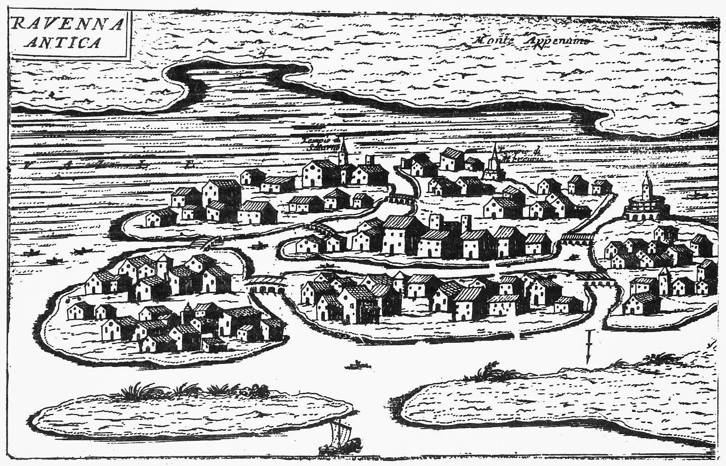 Ravenna antica data: intorno al 1705 dimensioni: cm 11,5x24,5 contenuta in: V. Coronelli, Ravenna antica e moderna, metropoli della Romagna, descritta e delineata per istrutione de' forestieri, p. 2