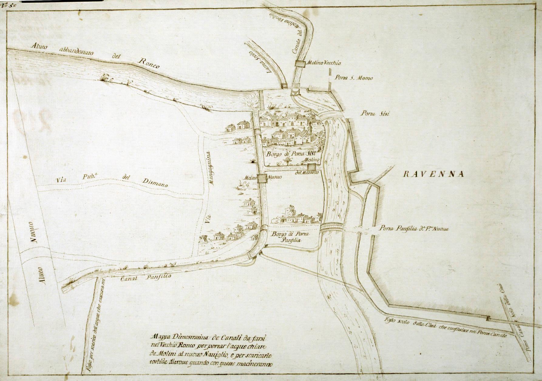 Mappa dimostrativa de' canali da farsi nel vecchio Ronco per portar l'acque chiare de' molini al nuovo naviglio e per scaricarle torbide altrove quando con queste macineranno data: XVIII secolo