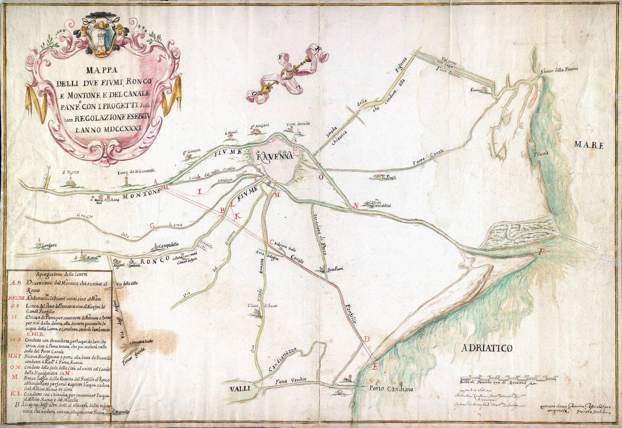 Mappa delli due fiumi Ronco e Montone e del Canale Panfilio con i progetti del di loro regolamento proposto l'anno 1731 autori: Bernardino Zendrini e Eustachio Manfredi autore secondario: Tommaso Zelingher data: 1731
