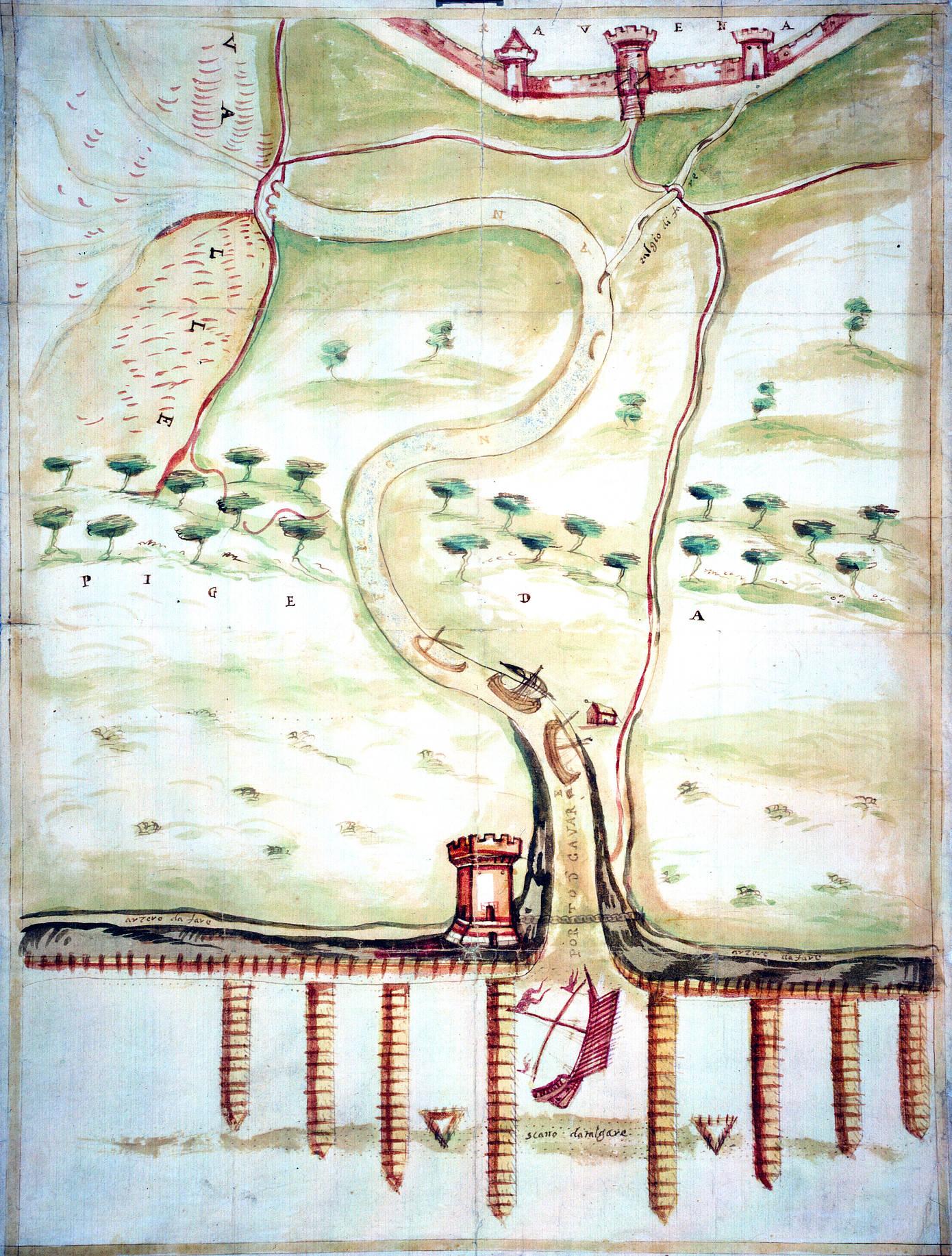 Porto Candiano e suo circondario con torre sulla destra autore: ignoto data: XVI secolo