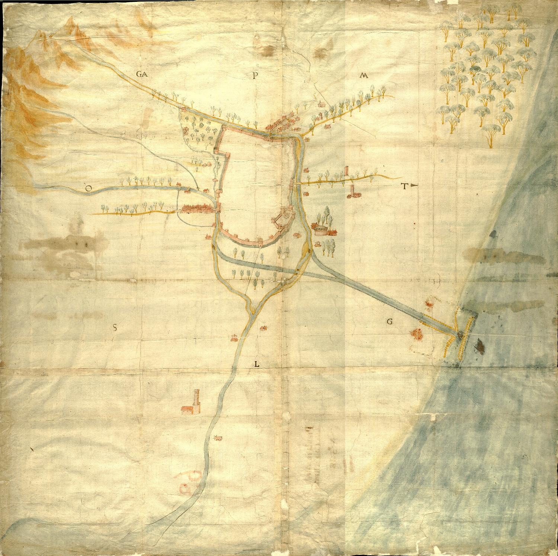 Pianta della città di Ravenna autore. ignoto data: secolo XVII, prima metà dimensioni: cm 84,5x85