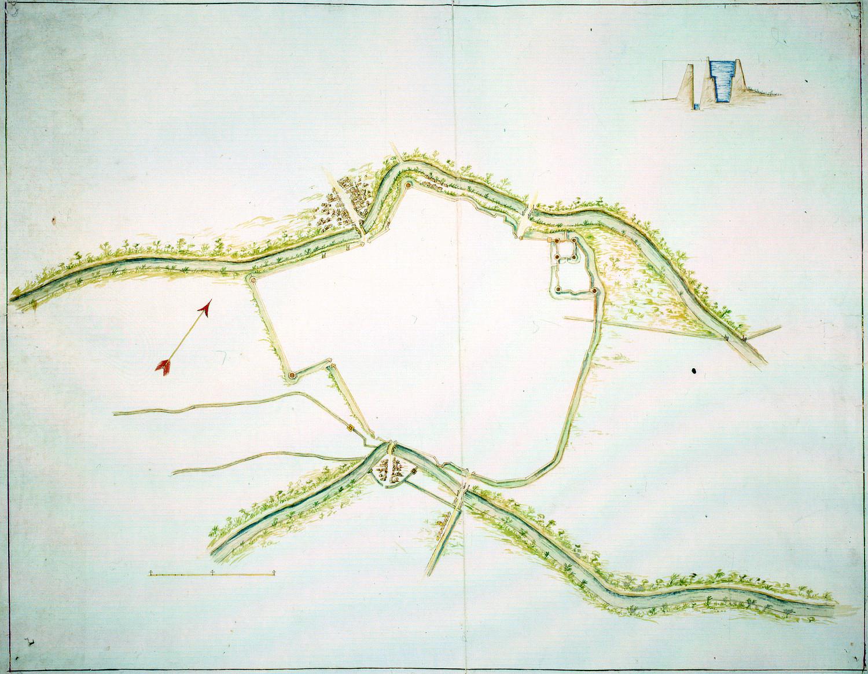 Pianta della città di Ravenna tra i due fiumi autore: ignoto data: secolo XVII, prima metà dimensioni: cm 46,7x60,7 Nota: oltre alla pianta, in alto a destra, c'è una piccola sezione alveare, priva di indicazioni
