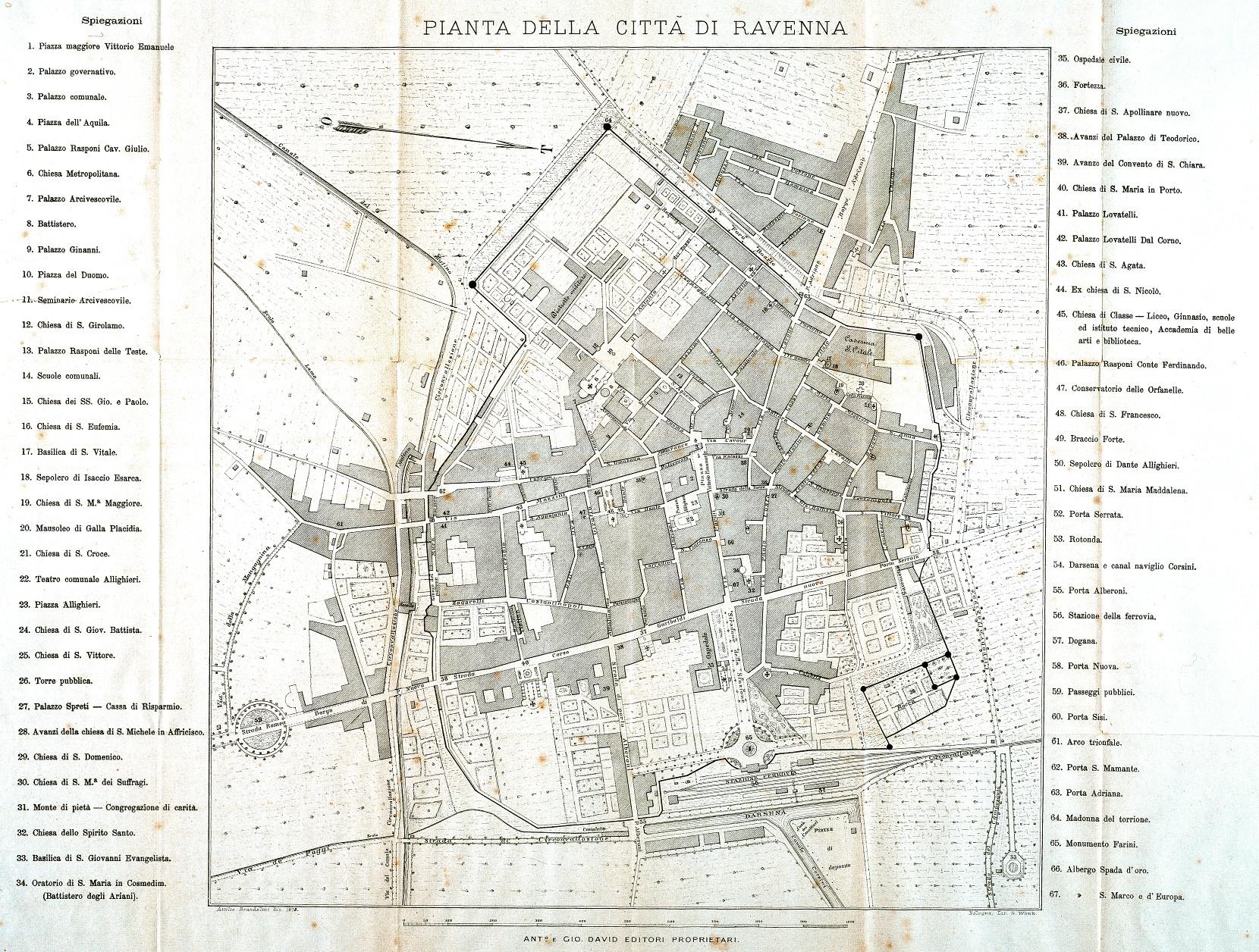 Pianta della città di Ravenna autore: Antonio Brandolini data: 1878 dimensioni: 42,5x55,5 contenuta in: G. Ricci, Ravenna e i suoi dintorni, Ravenna 1878
