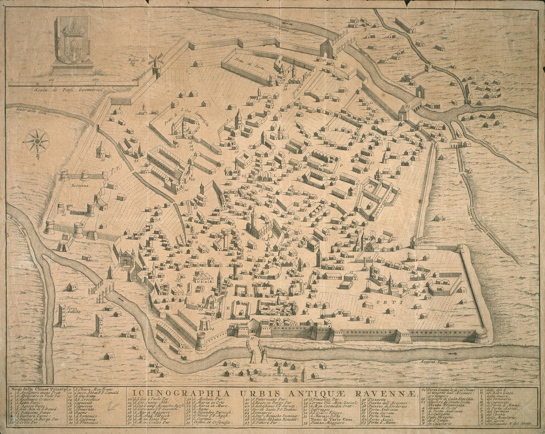Ichonographia urbis antiquae Ravennae autore: ignoto data: intorno al 1690 dimensioni: cm 30,5x38,5