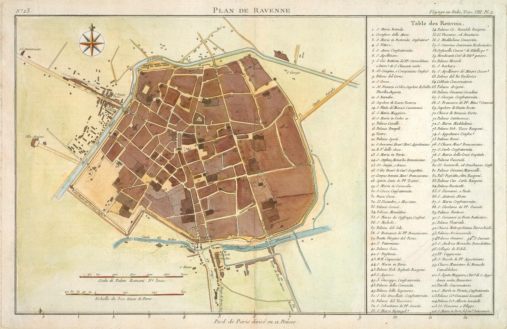 Plan de Ravenne autore: ignoto data: 1790 dimensioni: cm 22x36 contenuta in: J-J de La Lande, Voyage en Italie, VII, Desaint, Paris 1786