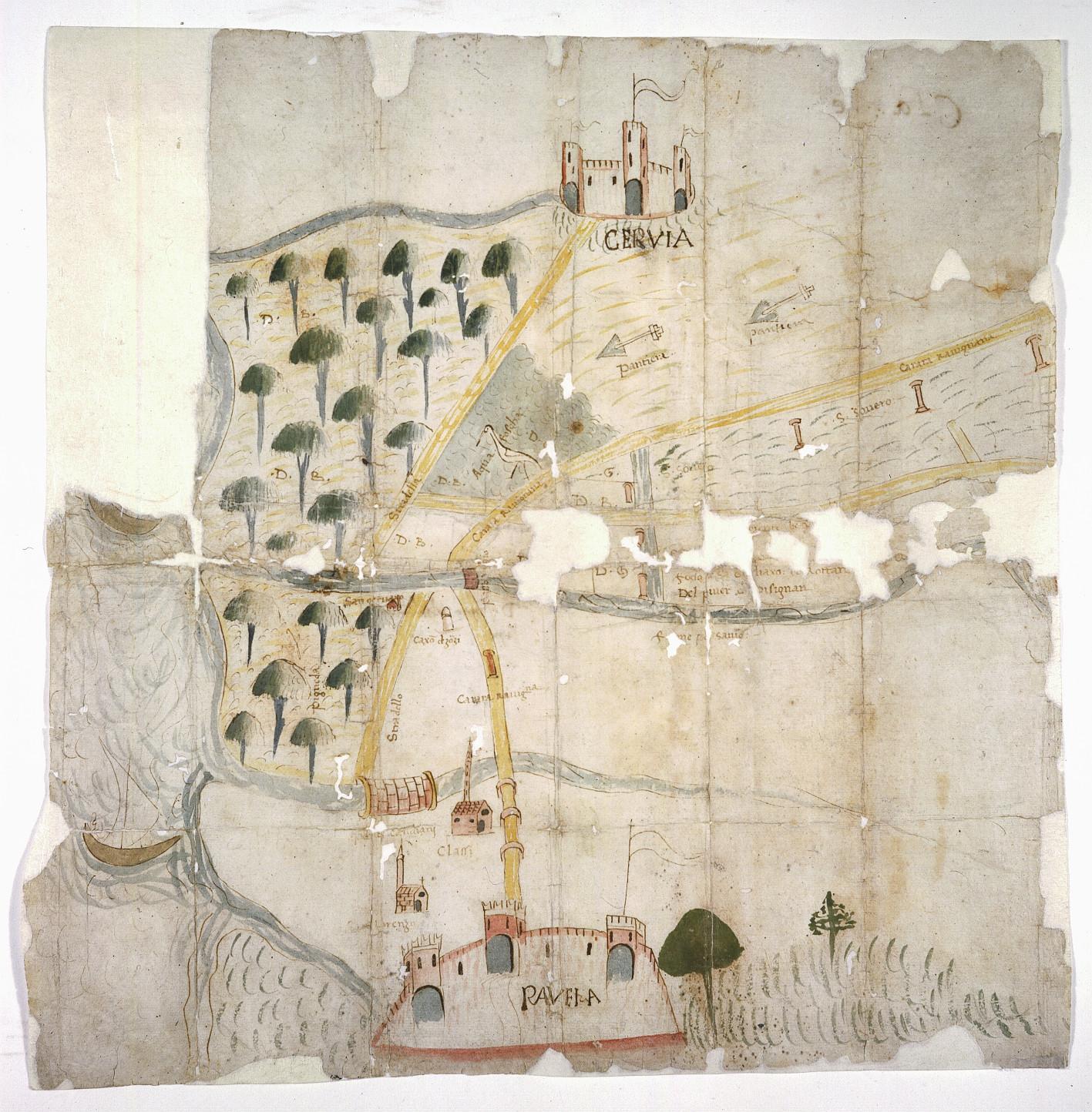 Territorio tra Ravenna, Cervia e il mare Adriatico autore: ignoto data: secolo XV, seconda metà dimensioni: cm 43,3x42,8