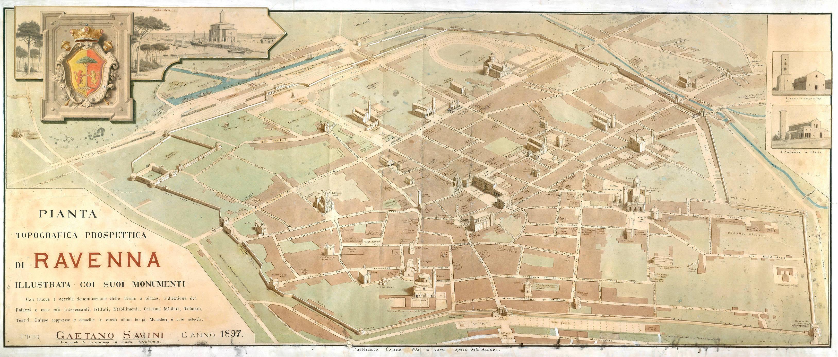 Pianta topografica prospettica di Ravenna illustrata coi suoi monumenti autore: Gaetano Savini data: 1897 contenuta in: G. Savini, Piante panoramiche