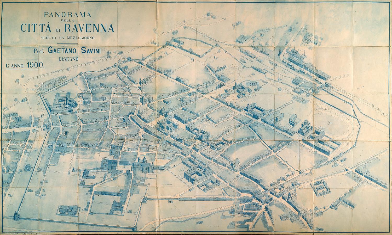 Panorama della città di Ravenna veduto da Mezzogiorno autore: Gaetano Savini data: 1900 contenuta in: G. Savini, Piante panoramiche