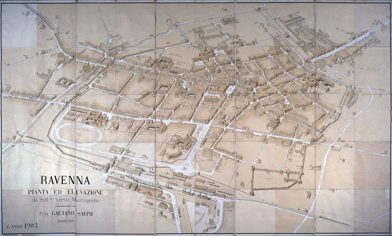 Pianta ed elevazione da settentrione verso mezzogiorno autore: Gaetano Savini data: 1903 contenuta in: G. Savini, Piante panoramiche