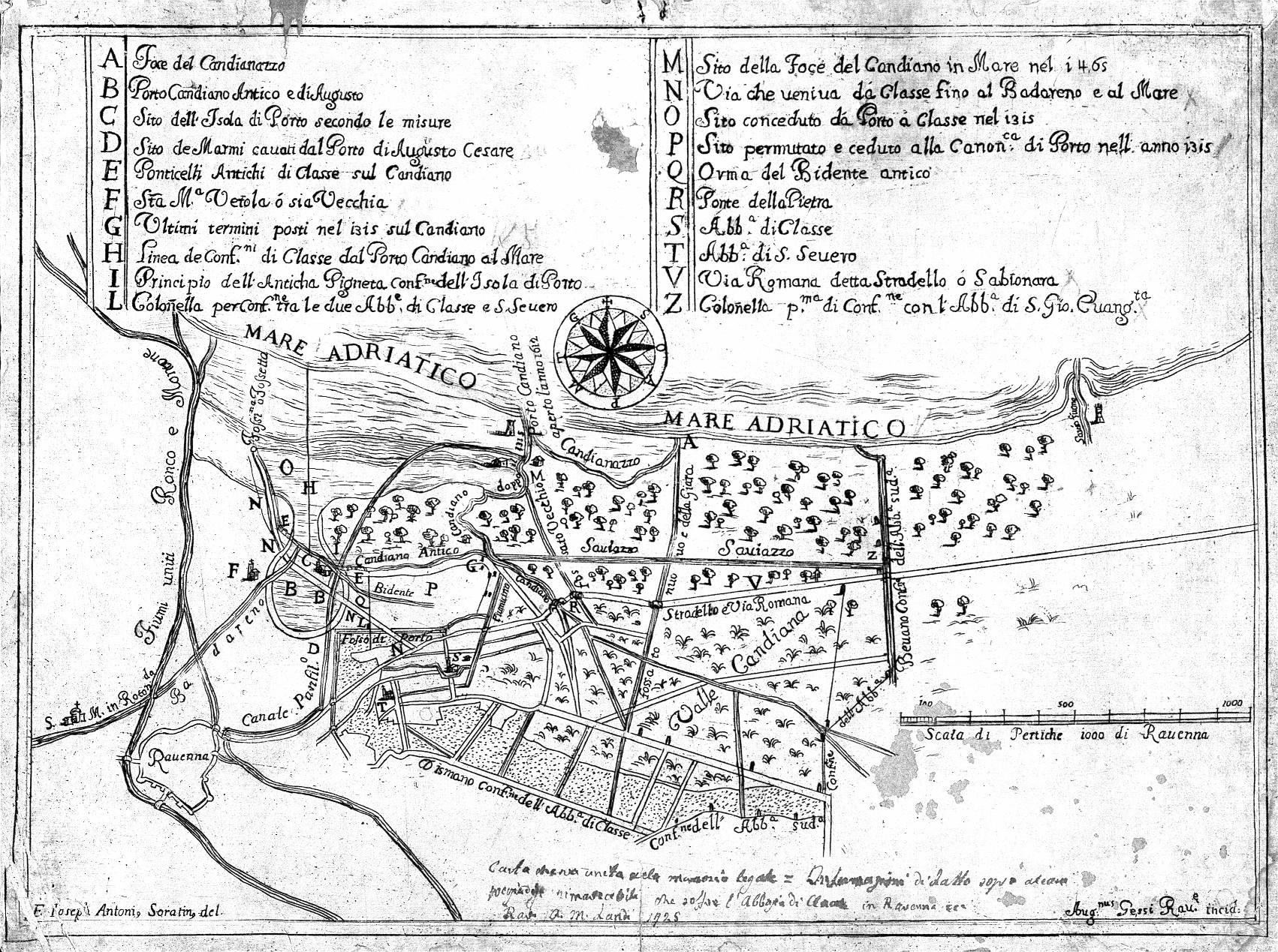 Carta dei beni del monastero di Classe autore:F. Ioseph Antoni Soratini data: 1725