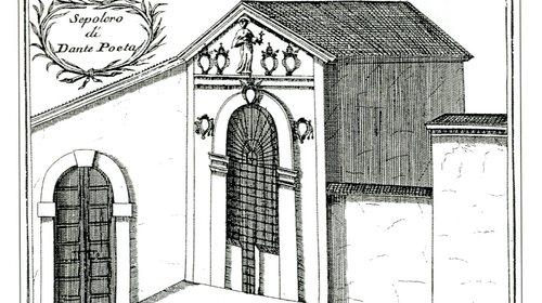 Sepolcro di Dante poeta, incisione, in Vincenzo Coronelli, Ravenna ricercata antico moderna accresciuta di memorie, 1708 ca.