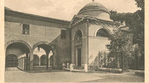 Il sepolcro di Dante e i chiostri francescani in una cartolina del 1938
