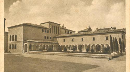 Casa Oriani e l'annesso porticato in una cartolina del 1938