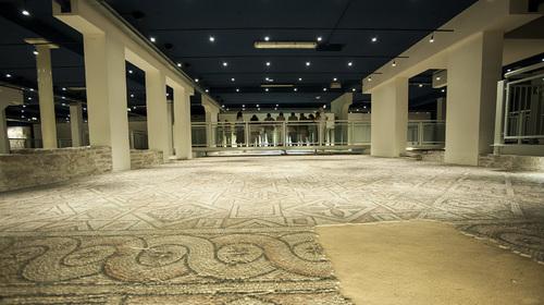I pavimenti di mosaico all'interno della Domus dei Tappeti di Pietra