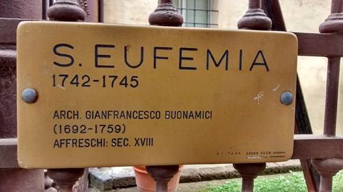 Targa all'ingresso della chiesa di Sant'Eufemia