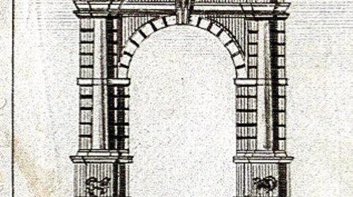 Pianta della città di Ravenna contornata da una veduta della città e da 19 immagini di monumenti (particolare), prima metà del XIX sec. (copyright Biblioteca Classense)