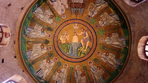 Mosaico del Battesimo di Gesù nella cupola del Battistero Neoniano