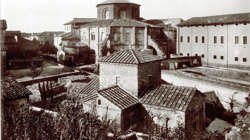 Basilica di San Vitale, vista panoramica col Mausoleo di Galla Placidia, Edizioni Alinari, 1920 (copyright Biblioteca Classense)